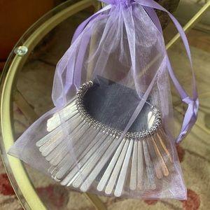 Silver  Dangle  Bib Necklace